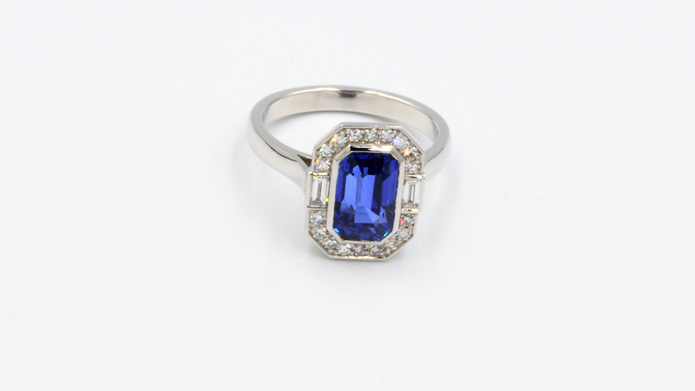Bespoke Art Deco Style Sapphire and Diamond Dress Ring