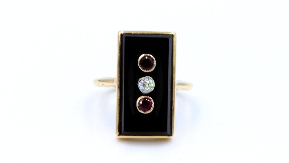 Art Deco Onyx Ruby & Diamond Ring