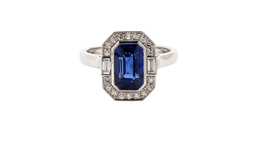 Bespoke Art Deco Style Sapphire and Diamond Dress Ring