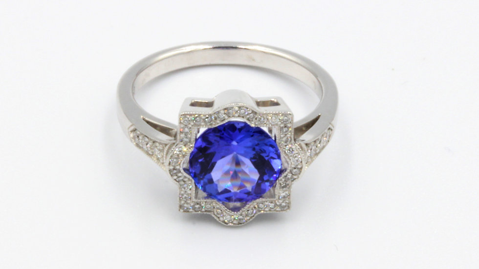 Bespoke Art Deco Style Tanzanite and Diamond Dress Ring