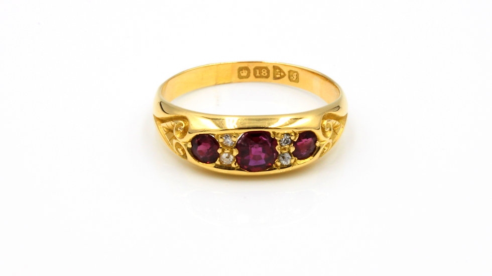 Edwardian 18ct Ruby and Diamond Ring Chester 1909