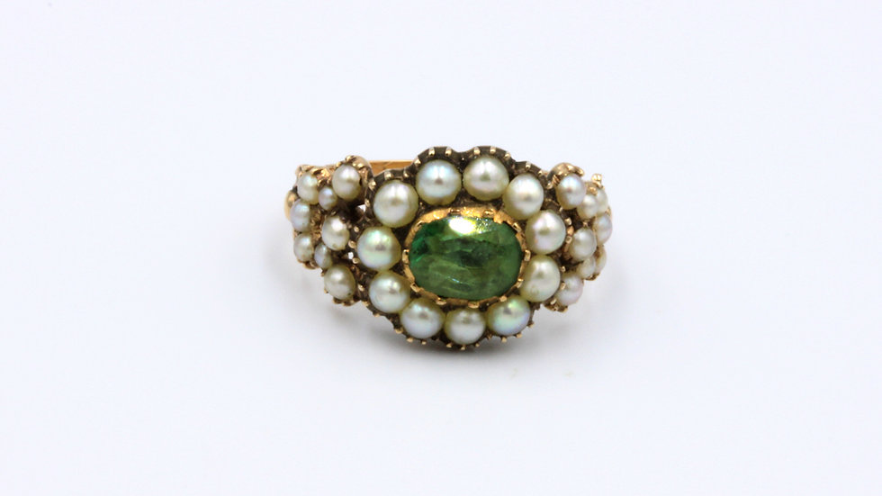 Antique Seed Pearl and Green Beryl Mourning Ring