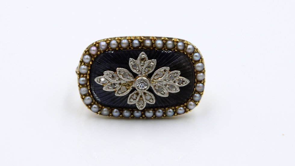 15ct Rose Gold Enamel Diamond and Pearl Brooch