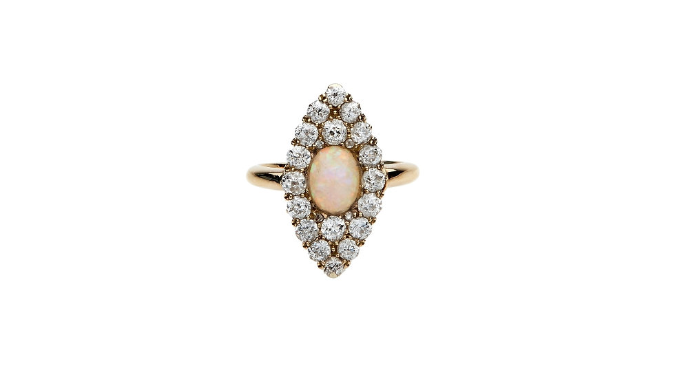 18ct Opal Diamond Marquise Ring