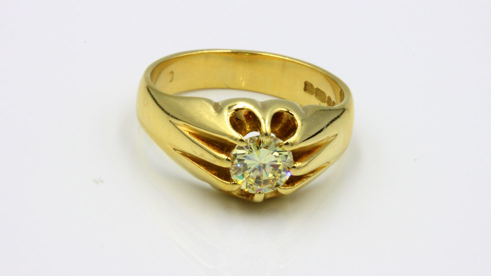 Heavy 18ct Gypsy Set Solitaire with 0.75ct Cape Diamond