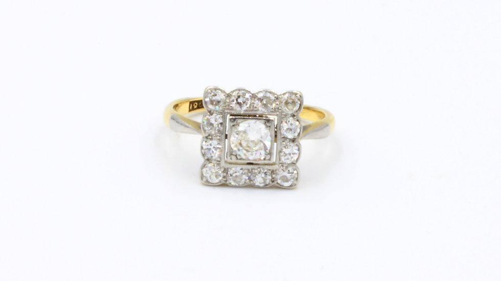 Art Deco Square Diamond Cluster Ring