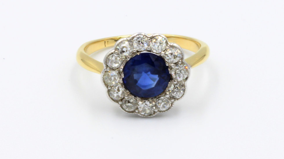 18ct Gold Sapphire and Diamond Round Cluster Ring