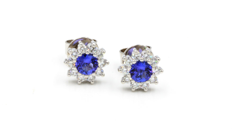 18ct White Gold Tanzanite Diamond Stud Earrings