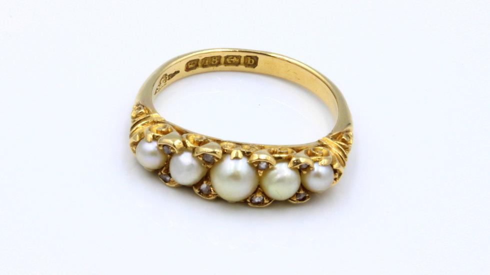 18ct Pearl and Diamond Ring Birmingham 1901