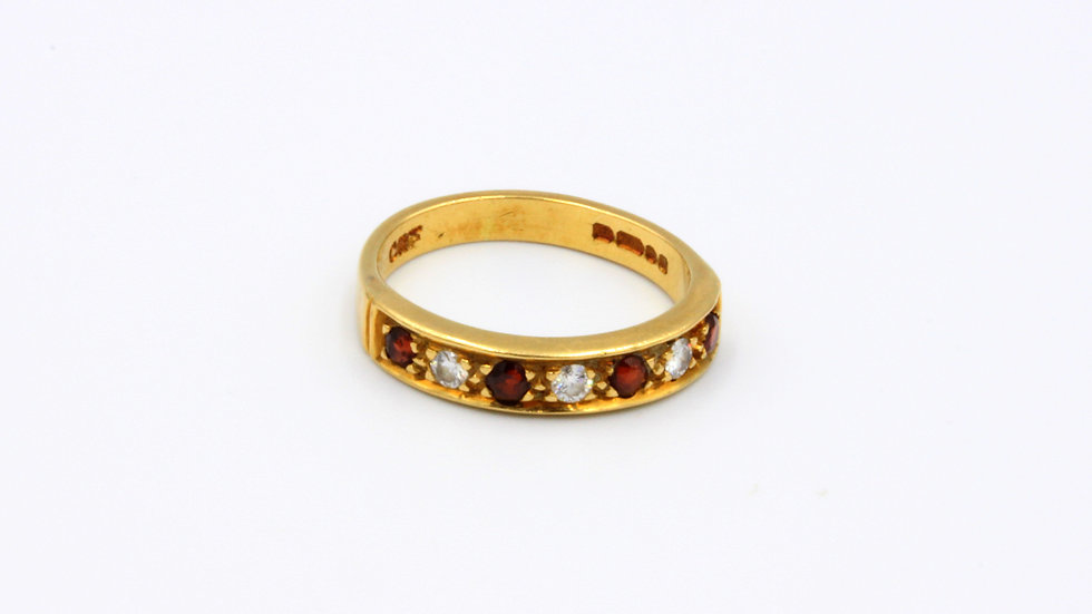 18ct Garnet Diamond Half Eternity Band