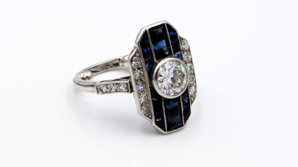 Art Deco Pinstripe Sapphire Diamond Ring