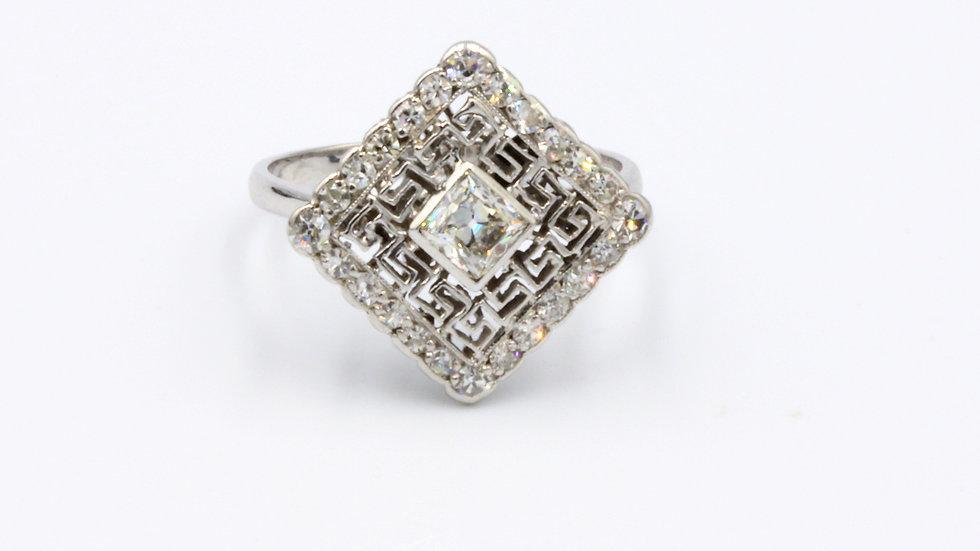 Art Deco Platinum Fancy Diamond Ring
