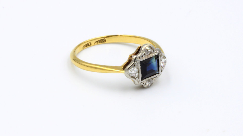 18ct Platinum Sapphire & Diamond Art Deco Ring