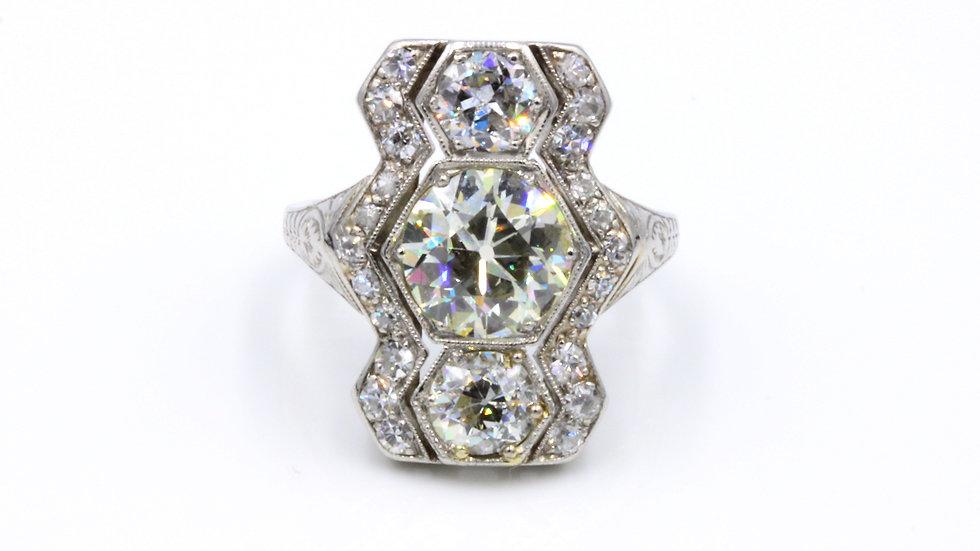 Art Deco Platinum Diamond Zig Zag Ring
