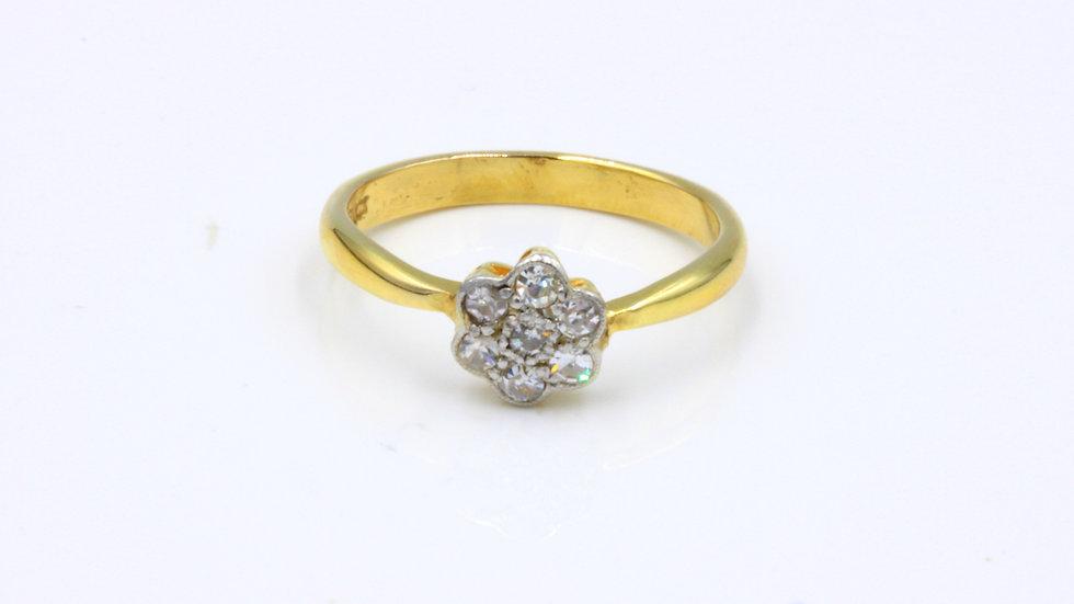 Antique 18ct Diamond Daisy Cluster Ring