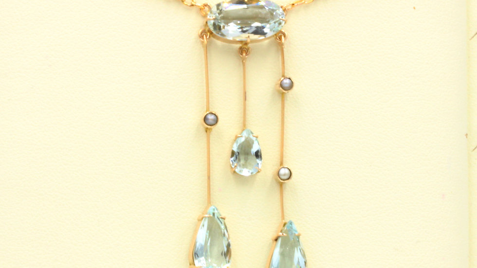 Edwardian 9ct Aquamarine and Pearl Negligee Necklace