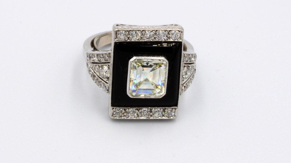 Platinum Art Deco Onyx and Diamond Ring