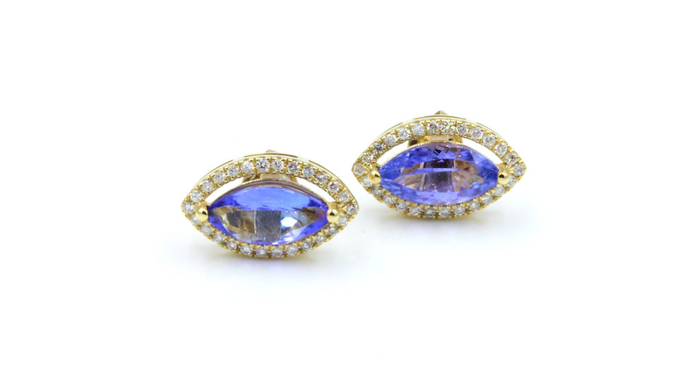 9ct Tanzanite Diamond Stud Earrings