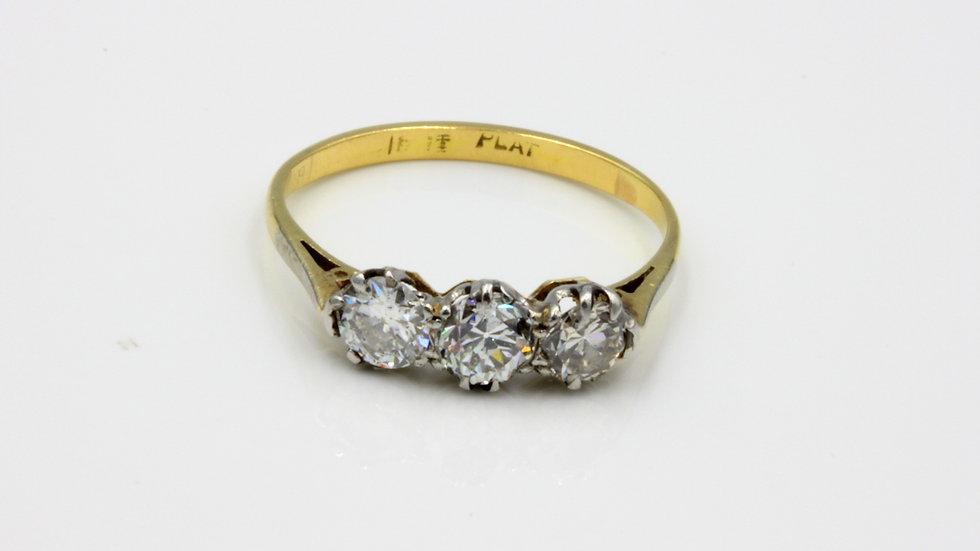 Vintage 18ct Platinum Diamond Trilogy Ring