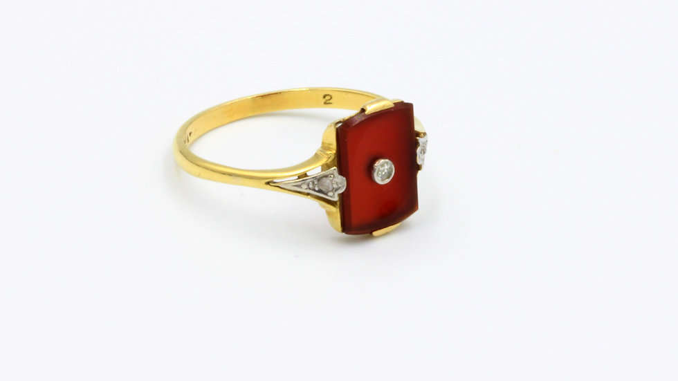 18ct Platinum Art Deco Carnelian Diamond Ring