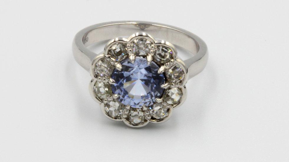 Bespoke 18ct Sapphire Diamond Cluster Ring
