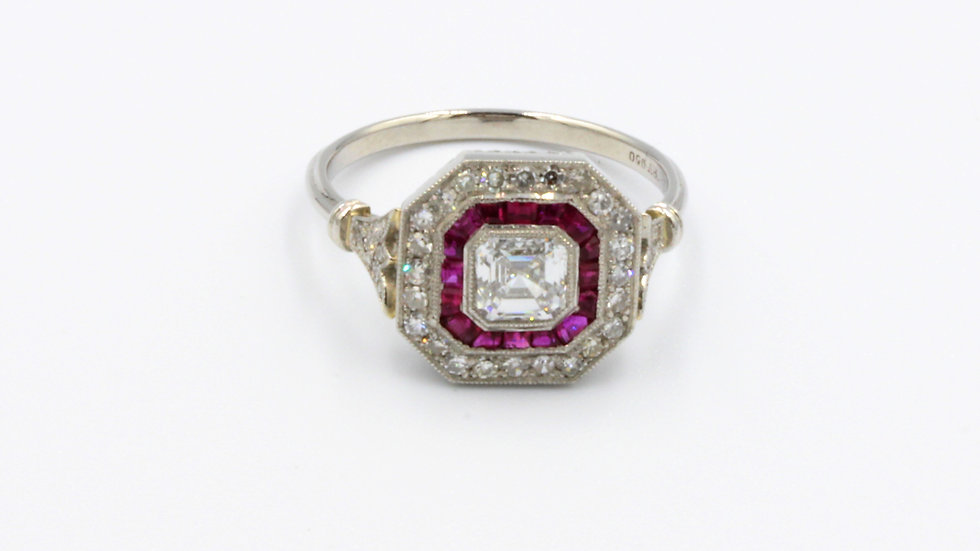 Bespoke Art Deco Style Platinum Ruby Diamond Ring