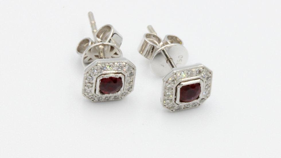 18ct White Gold Ruby Diamond Stud Earrings
