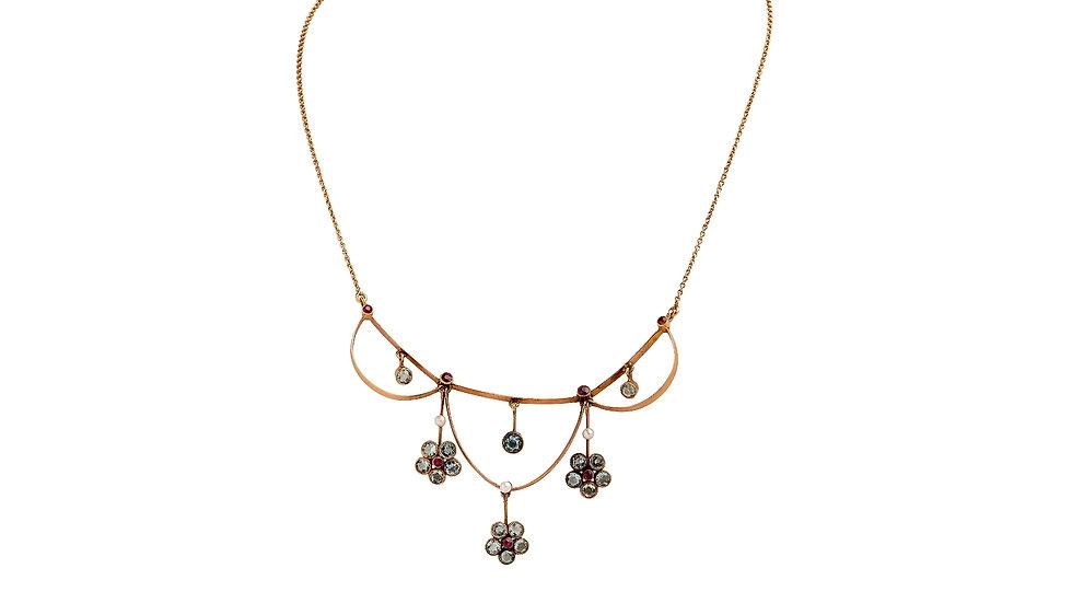 Channeling Bridgerton! Aquamarine Ruby Necklace