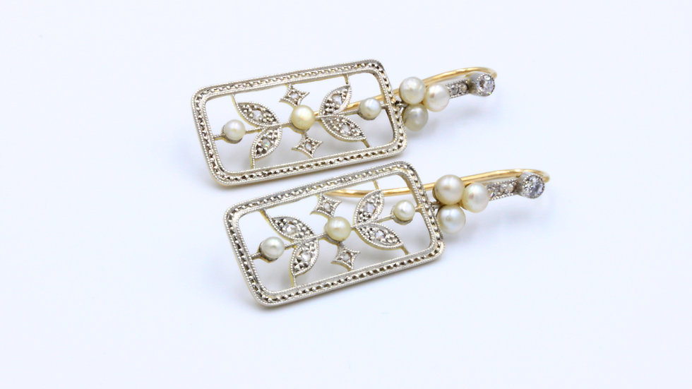 18ct Gold Pearl & Diamond Earrings