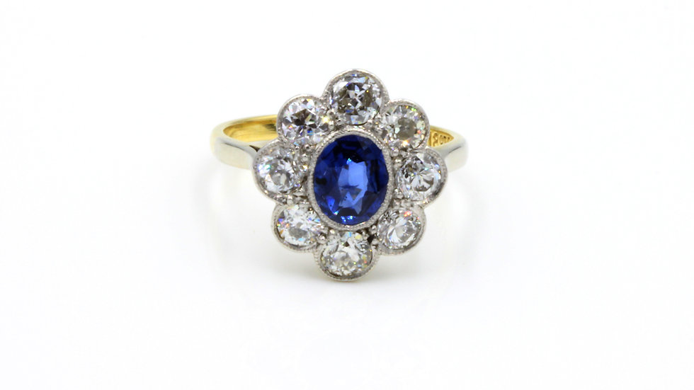 18ct Platinum Sapphire Diamond Cluster Ring