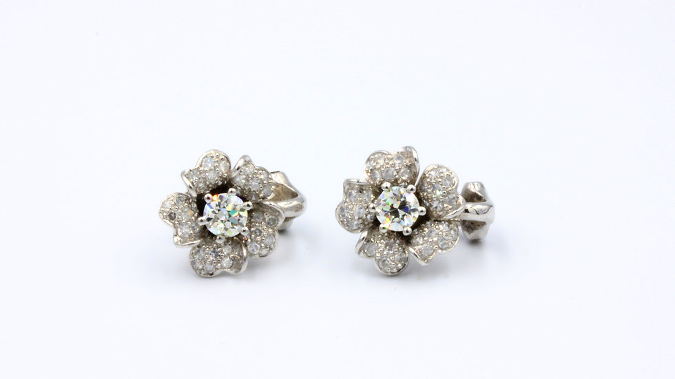 Art Deco Diamond Flower Earrings