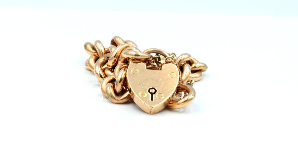 9ct Rose Gold Curblink Bracelet Birmingham 1903