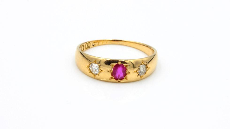 Victorian 18ct Ruby Diamond Ring