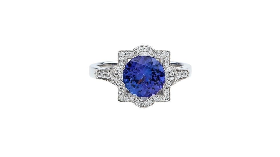 Bespoke Art Deco Style Tanzanite and Diamond Dress Ring