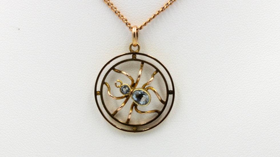 9ct Rose Gold Aquamarine Spider Pendant