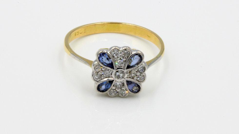 18ct Art Deco Style Sapphire and Diamond Ring