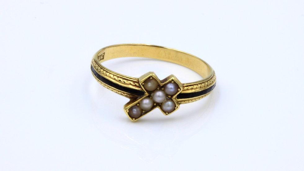 Victorian 18ct Pearl Cross Enamel Mourning Ring