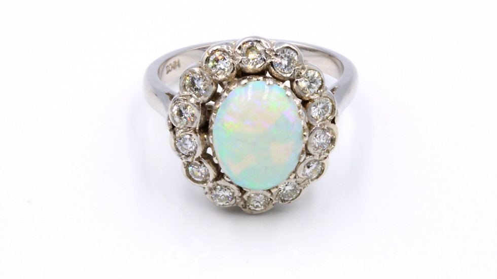 18ct White Gold Opal and Diamond Cluster