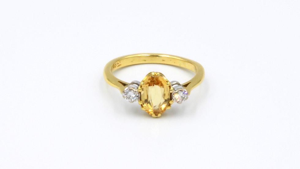 18ct Citrine and Diamond Ring
