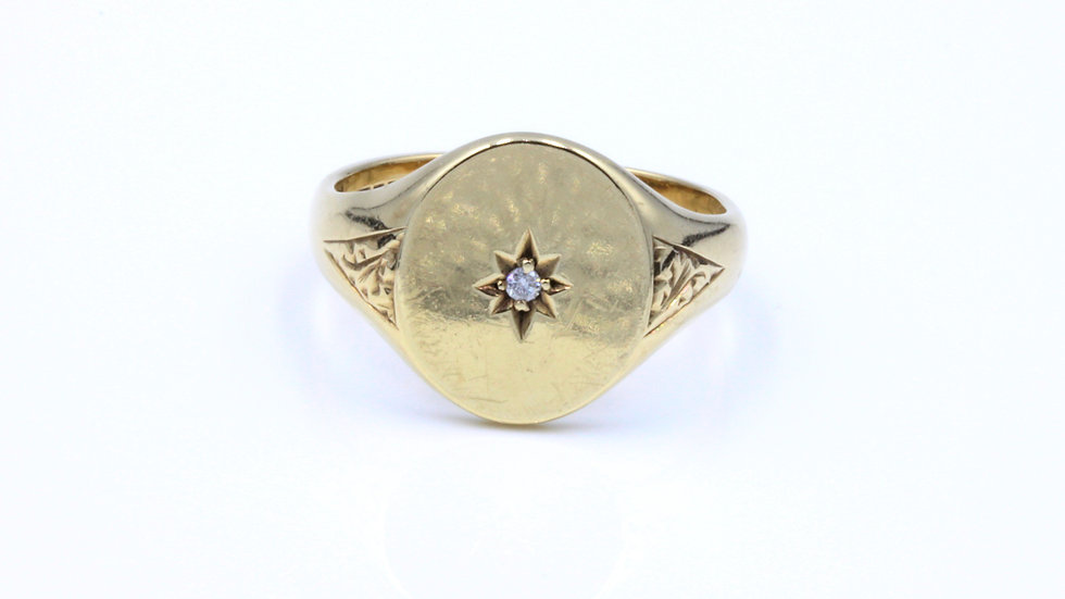 9ct Diamond Signet Ring
