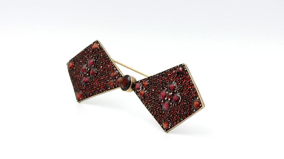 Spectacular Bohemian Garnet Bow Tie Brooch