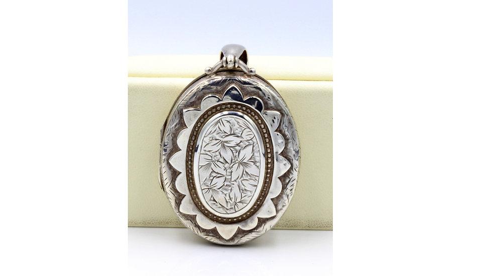 Victorian Silver Locket Birmingham 1888