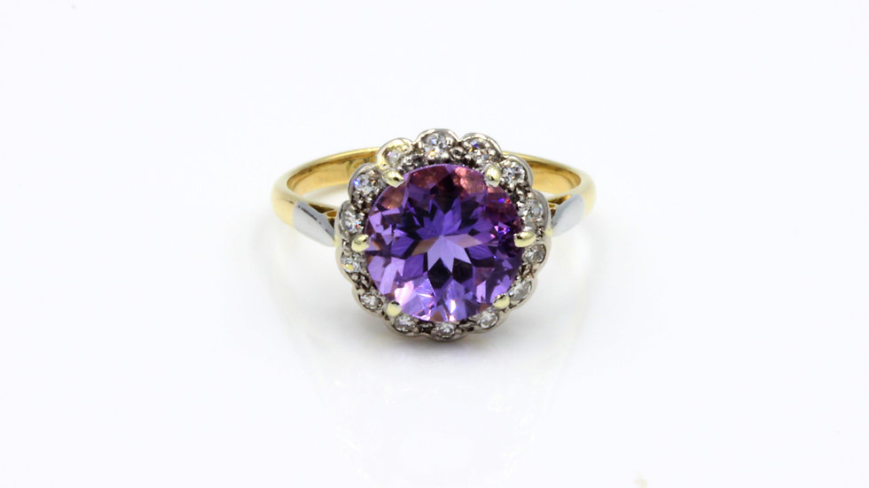 Vintage 18ct Amethyst Diamond Cluster Ring