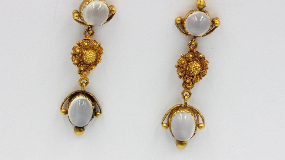 15ct Gold Moonstone Earrings