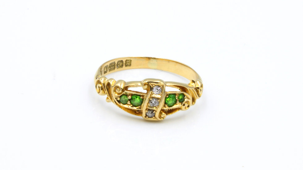 18ct Victorian Demantoid Garnet Diamond Ring Birmingham 1906