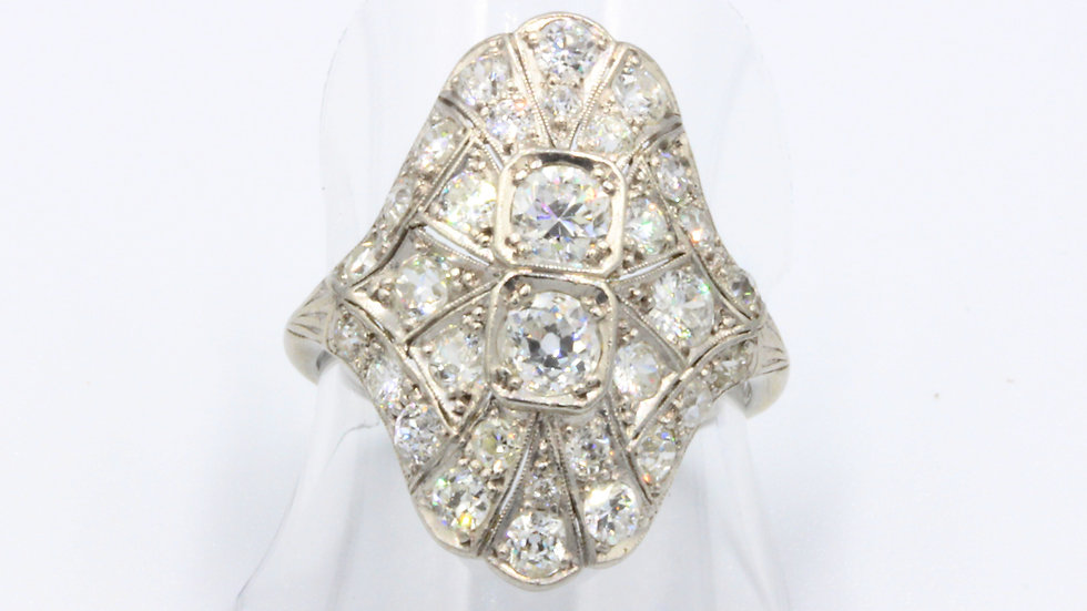 Art Deco Platinum Diamond Plaque Dress Ring