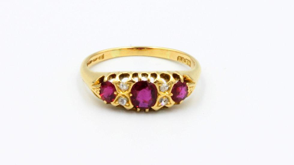 Edwardian 18ct Ruby and Diamond Ring