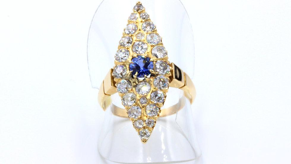 Marquise Edwardian Diamond Sapphire Ring