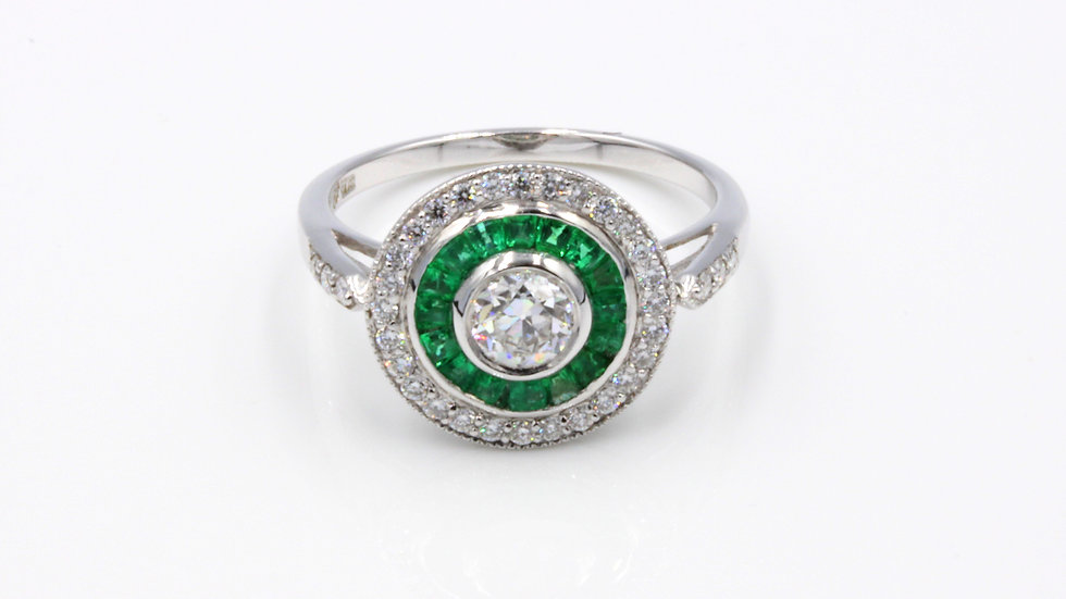 Art Deco Emerald and Diamond Target Ring