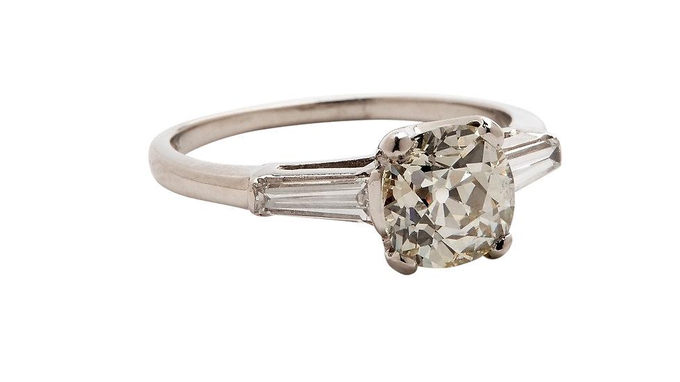 Art Deco Platinum Diamond Solitaire with Baguettes